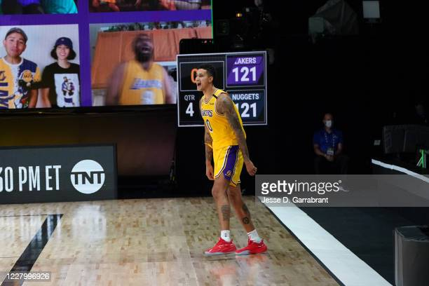 Kyle Kuzma of the Los Angeles Lakers reacts after a game winning shot against the Denver Nuggets on August 10, 2020 at the AdventHealth Arena at in...