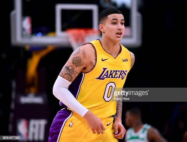 Kyle Kuzma of the Los Angeles Lakers reacts after his third three pointer during a 108107 win over the Boston Celtics at Staples Center on January 23...