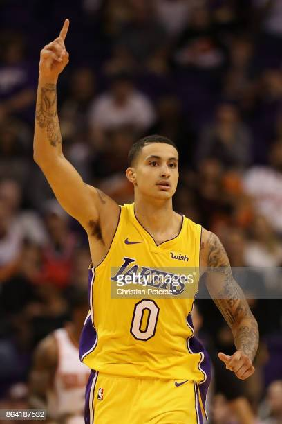 Kyle Kuzma of the Los Angeles Lakers reacts after scoring against the Phoenix Suns during the second half of the NBA game at Talking Stick Resort...