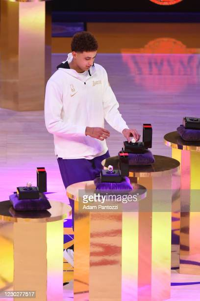 Kyle Kuzma of the Los Angeles Lakers reacts as he gets his 2019-20 NBA Championship ring during the ring ceremony before the game against the LA...