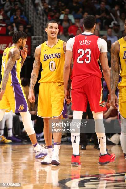 Kyle Kuzma of the Los Angeles Lakers reacts during the game against the New Orleans Pelicans on February 14 2018 at the Smoothie King Center in New...