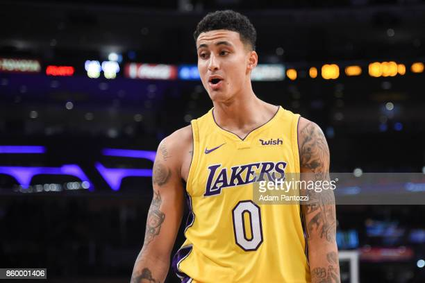 Kyle Kuzma of the Los Angeles Lakers reacts during the preseason game against the Utah Jazz on October 10 2017 at STAPLES Center in Los Angeles...