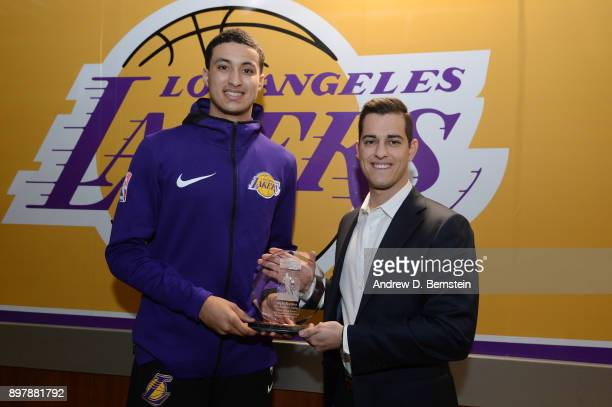 Kyle Kuzma of the Los Angeles Lakers receives Rookie of the Month award on December 23 2017 at STAPLES Center in Los Angeles California NOTE TO USER...