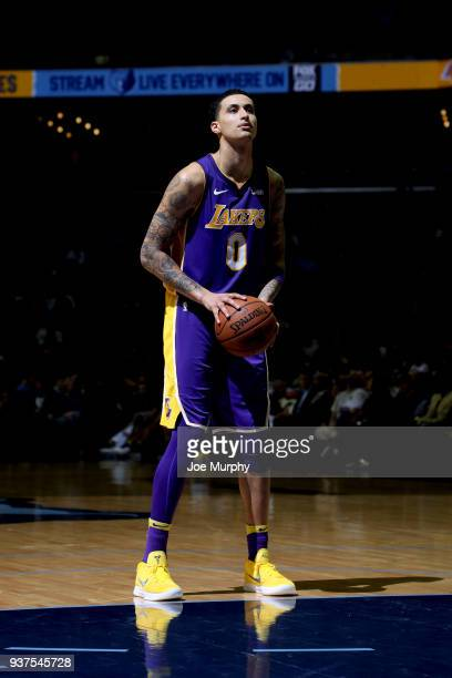 Kyle Kuzma of the Los Angeles Lakers shoots a free throw against the Memphis Grizzlies on March 24 2018 at FedExForum in Memphis Tennessee NOTE TO...