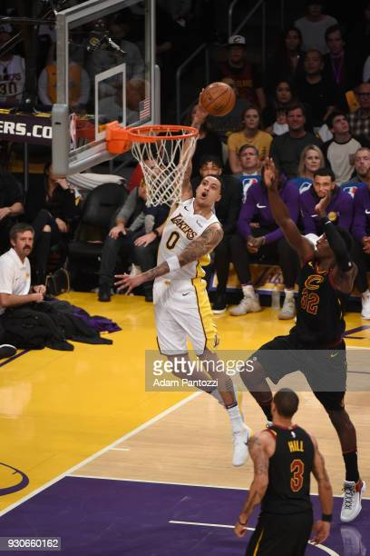 Kyle Kuzma of the Los Angeles Lakers shoots a layup against the Cleveland Cavaliers on March 11 2018 at STAPLES Center in Los Angeles California NOTE...