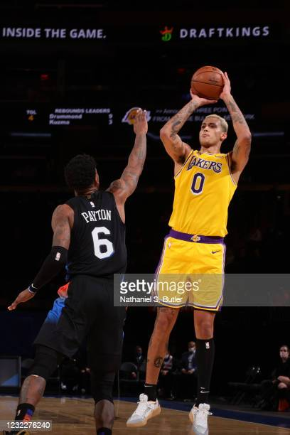 Kyle Kuzma of the Los Angeles Lakers shoots a three point basket during the game against the New York Knicks on April 12, 2021 at Madison Square...
