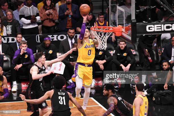Kyle Kuzma of the Los Angeles Lakers shoots the ball against Rodions Kurucs of the Brooklyn Nets during the game at Barclays Center on December 18...