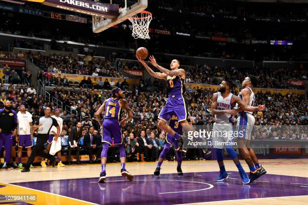 Kyle Kuzma of the Los Angeles Lakers shoots the ball against the Detroit Pistons on January 9 2019 at STAPLES Center in Los Angeles California NOTE...