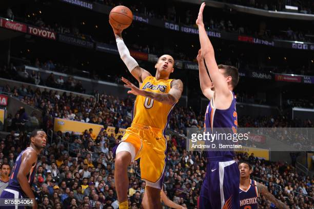 Kyle Kuzma of the Los Angeles Lakers shoots the ball against the Phoenix Suns on November 17 2017 at STAPLES Center in Los Angeles California NOTE TO...