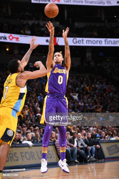 Kyle Kuzma of the Los Angeles Lakers shoots the ball against the Denver Nuggets on December 2 2017 at the Pepsi Center in Denver Colorado NOTE TO...