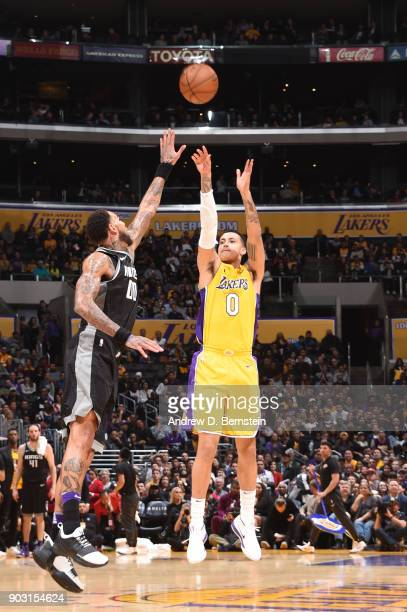 Kyle Kuzma of the Los Angeles Lakers shoots the ball against the Sacramento Kings on January 9 2018 at STAPLES Center in Los Angeles California NOTE...