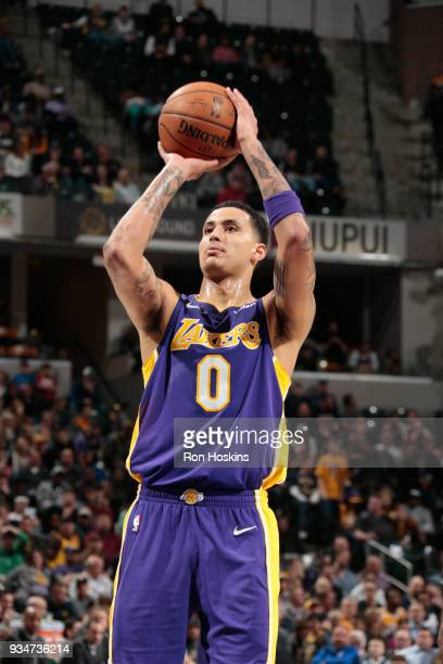 Kyle Kuzma of the Los Angeles Lakers shoots the ball against the Indiana Pacers on March 19 2018 at Bankers Life Fieldhouse in Indianapolis Indiana...