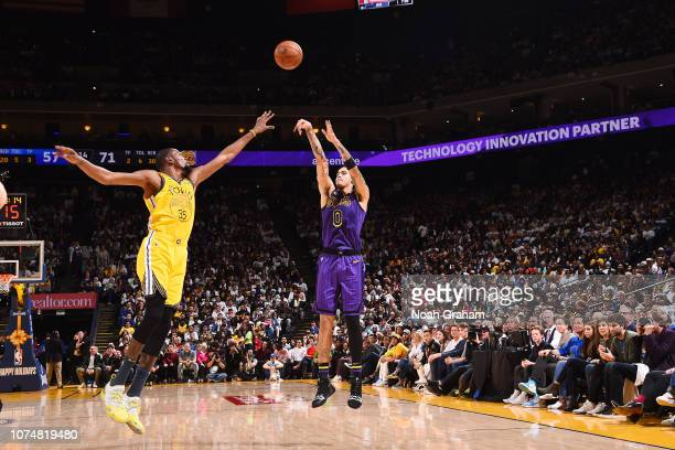 Kyle Kuzma of the Los Angeles Lakers shoots the ball against the Golden State Warriors on December 25 2018 at ORACLE Arena in Oakland California NOTE...
