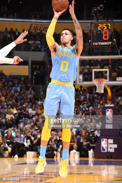 Kyle Kuzma of the Los Angeles Lakers shoots the ball against the Oklahoma City Thunder on January 3 2018 at STAPLES Center in Los Angeles California...