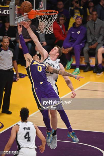 Kyle Kuzma of the Los Angeles Lakers shoots the ball against the San Antonio Spurs on December 5 2018 at STAPLES Center in Los Angeles California...