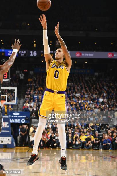 Kyle Kuzma of the Los Angeles Lakers shoots the ball during the game against the Golden State Warriors on February 2 2019 at the Pepsi Center in...