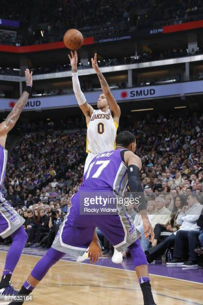 Kyle Kuzma of the Los Angeles Lakers shoots the ball during the game against the Sacramento Kings on November 22 2017 at Golden 1 Center in...