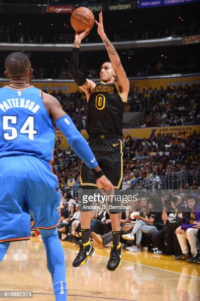 Kyle Kuzma of the Los Angeles Lakers shoots the ball during the game against the Oklahoma City Thunder on February 8 2018 at STAPLES Center in Los...