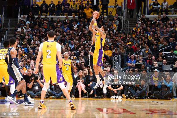 Kyle Kuzma of the Los Angeles Lakers shoots the ball during the game against the Denver Nuggets on March 13 2018 at STAPLES Center in Los Angeles...