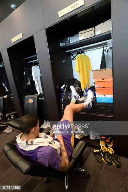 Kyle Kuzma of the Los Angeles Lakers sits at his locker after an all access practice on February 12 2018 at UCLA Heath Training Center in El Segundo...