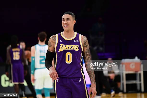 Kyle Kuzma of the Los Angeles Lakers smiles during the game against the Charlotte Hornets on March 18, 2021 at STAPLES Center in Los Angeles,...