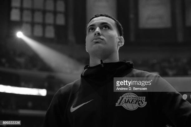 Kyle Kuzma of the Los Angeles Lakers stands on the court for the National Anthem before the game against the Memphis Grizzlies on December 27 2017 at...