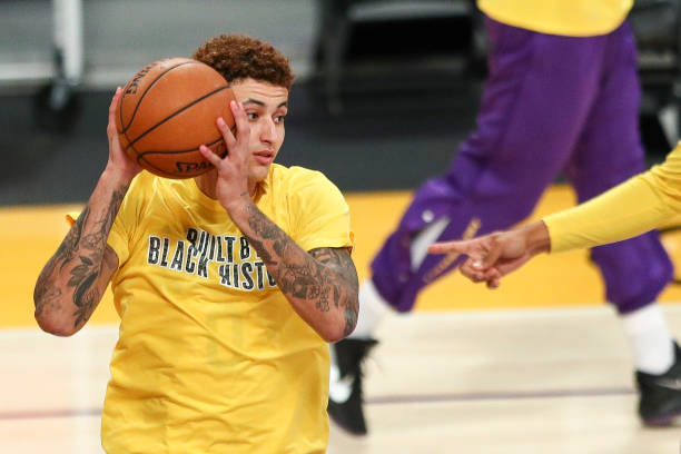 Kyle Kuzma of the Los Angeles Lakers warms up before the game against the Oklahoma City Thunder at Staples Center on February 10, 2021 in Los...