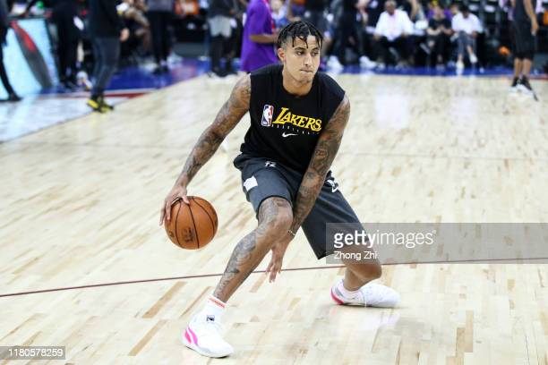 Kyle Kuzma of the Los Angeles Lakers warms up before the match against the Brooklyn Nets during a preseason game as part of 2019 NBA Global Games...