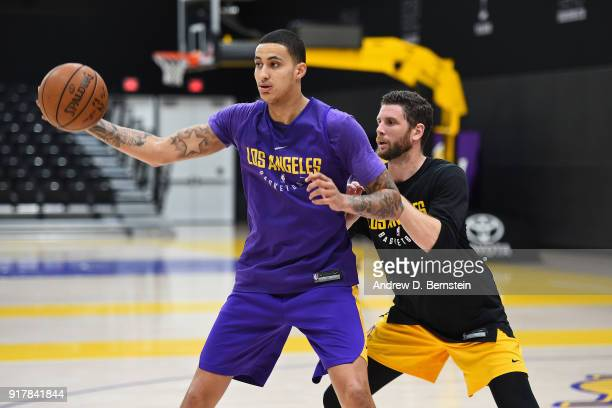 Kyle Kuzma of the Los Angeles Lakers works for position during an all access practice on February 12 2018 at UCLA Heath Training Center in El Segundo...