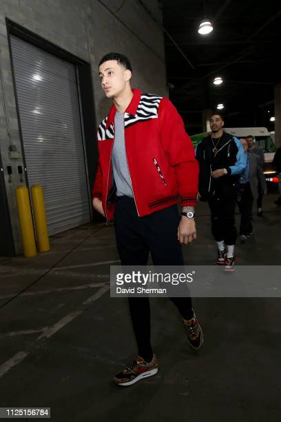 Kyle Kuzma of the US Team arrives prior to the 2019 Mtn Dew ICE Rising Stars Game on February 15 2019 at the Spectrum Center in Charlotte North...