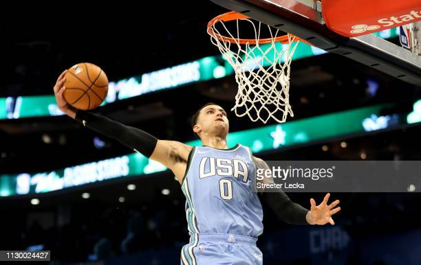 Kyle Kuzma of the US Team dunks during the 2019 Mtn Dew ICE Rising Stars at Spectrum Center on February 15 2019 in Charlotte North Carolina