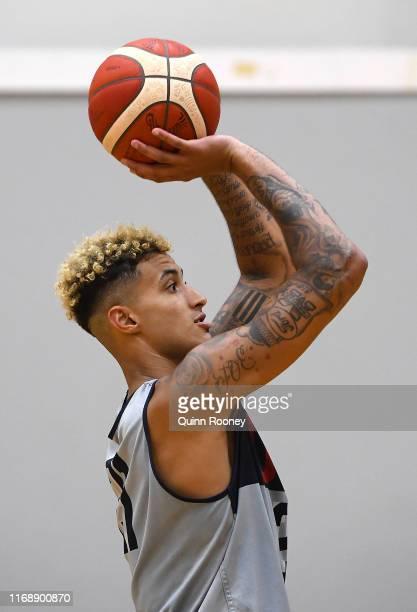 Kyle Kuzma of the USA shoots during the United States of America Team USA National basketball team training session at Melbourne Sports and Aquatic...