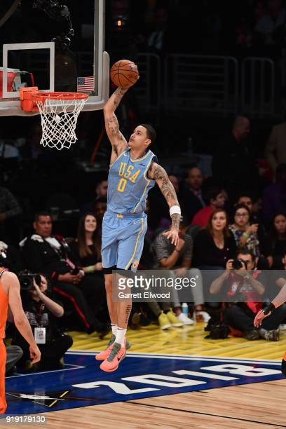 Kyle Kuzma of the USA Team dunks the ball against the World Team during the Mountain Dew Kickstart Rising Stars Game during AllStar Friday Night as...
