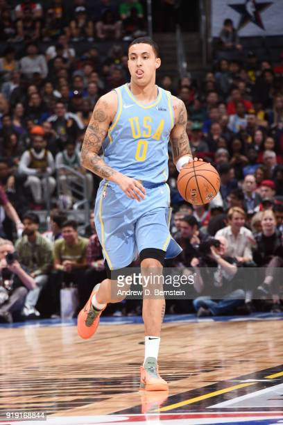 Kyle Kuzma of the USA team handles the ball against the World Team during the Mountain Dew Kickstart Rising Stars Game during AllStar Friday Night as...