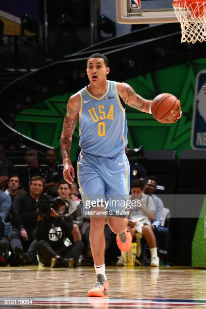 Kyle Kuzma of the USA Team handles the ball during the game against the World Team during the Mountain Dew Kickstart Rising Stars Game during AllStar...