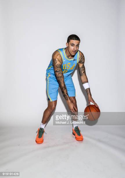 Kyle Kuzma of the USA team poses for a portrait prior to the Mountain Dew Kickstart Rising Stars Game during AllStar Friday Night as part of 2018 NBA...