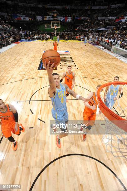 Kyle Kuzma of the USA team shoots the ball against the World team during the Mountain Dew Kickstart Rising Stars Game during AllStar Friday Night as...