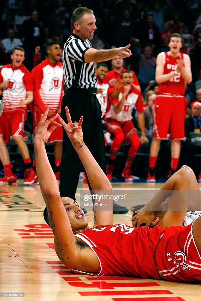 Kyle Kuzma #35 of the Utah Utes celebrates a basket and a foul aganinst the Duke Blue Devils during the Ameritas Insurance Classic at Madison Square Garden on December 19, 2015 in New York City. Utah Utes defeated the Duke Blue Devils 77-75.