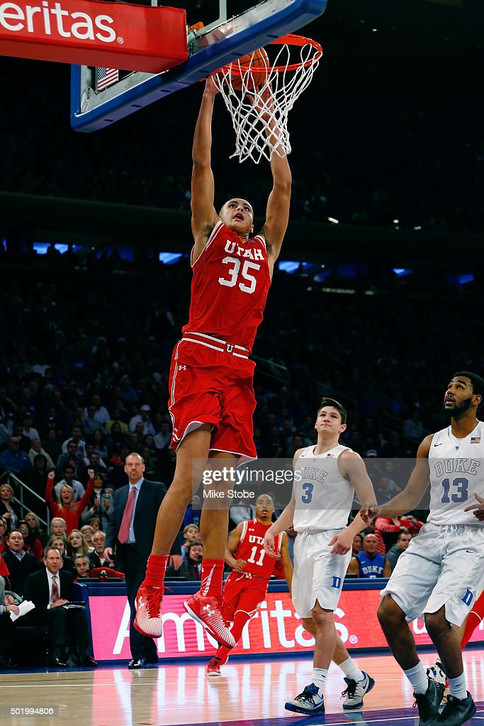 Kyle Kuzma #35 of the Utah Utes dunks the ball against the Duke Blue Devils during the Ameritas Insurance Classic at Madison Square Garden on December 19, 2015 in New York City. Utah Utes defeated the Duke Blue Devils 77-75.