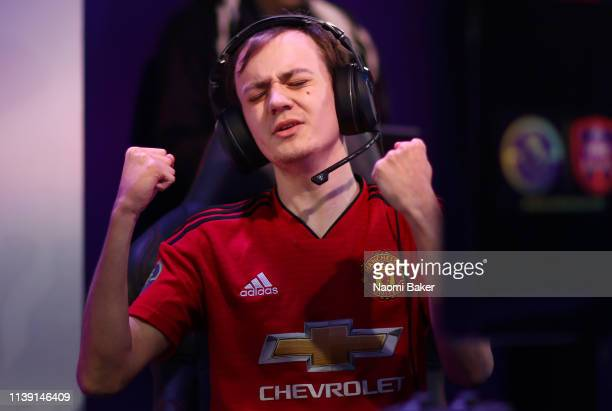 Kyle 'KyleLeese_' Leese of Manchester United celebrates after winning the semi final match during day 2 of the ePremier League Finals 2019 at Gfinity...