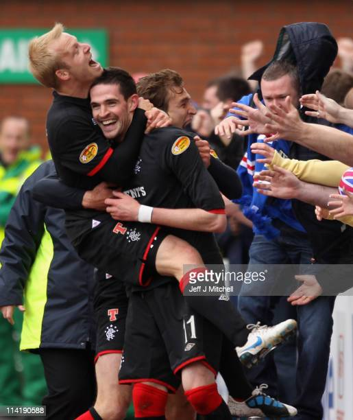 Kyle Lafferty and Steven Naismith of Rangers celebrate after scoring during the Clydesdale Bank Premier League match between Kilmarnock and Rangers...