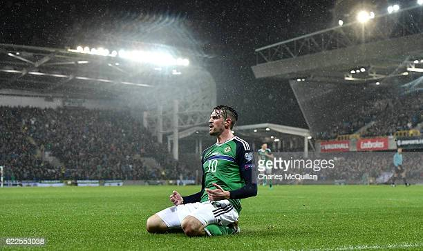 Kyle Lafferty of Northern Ireland celebrates after scoring during the FIFA 2018 World Cup Qualifier between Northern Ireland and Azerbaijan at...