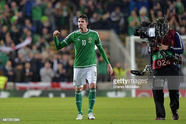 Kyle Lafferty of Northern Ireland celebrates after the Euro 2016 Group F qualifying match between Northern Ireland and Hungary at Windsor Park on...