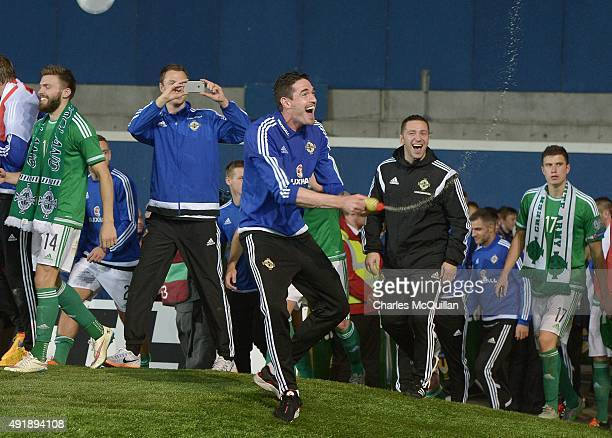 Kyle Lafferty of Northern Ireland celebrates clinching qualification after this evenings Euro 2016 Group F international football match against...