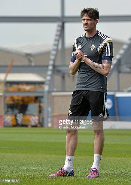 Kyle Lafferty of Northern Ireland during a squad training session at Windsor Park on June 12 2015 in Belfast Northern Ireland Northern Ireland play...