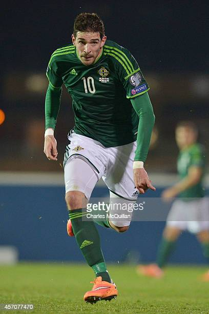 Kyle Lafferty of Northern Ireland during the Euro 2016 Qualifier between Northern Ireland and Faroe Islands at Windsor Park on October 11 2014 in...