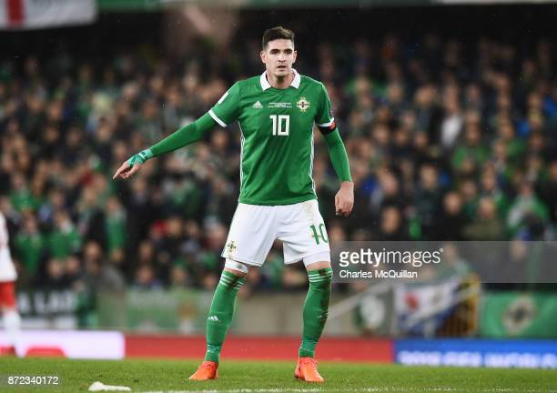 Kyle Lafferty of Northern Ireland during the FIFA 2018 World Cup Qualifier PlayOff first leg between Northern Ireland and Switzerland at Windsor Park...