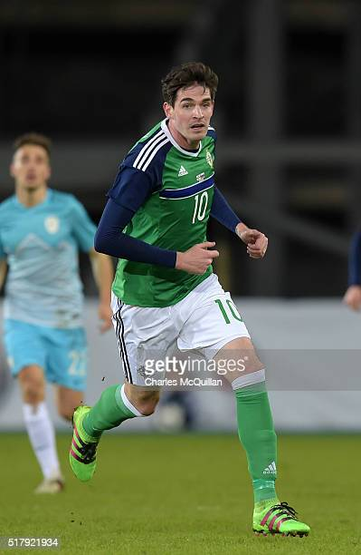 Kyle Lafferty of Northern Ireland during the international friendly between Northern Ireland and Slovenia at Windsor Park on March 28 2016 in Belfast...