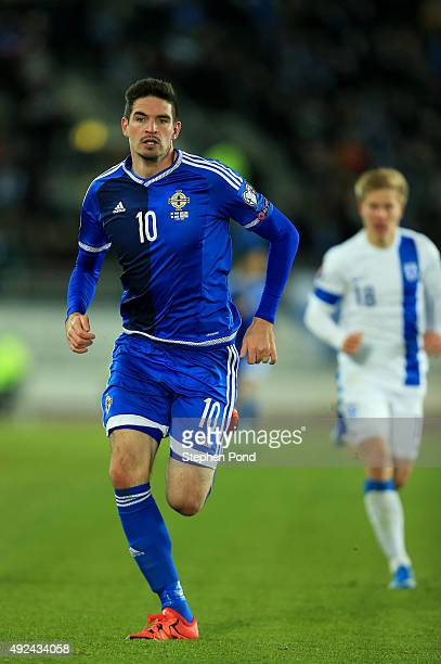Kyle Lafferty of Northern Ireland during the UEFA EURO 2016 Qualifying match between Finland and Northern Ireland at the Olympic Stadium on October...