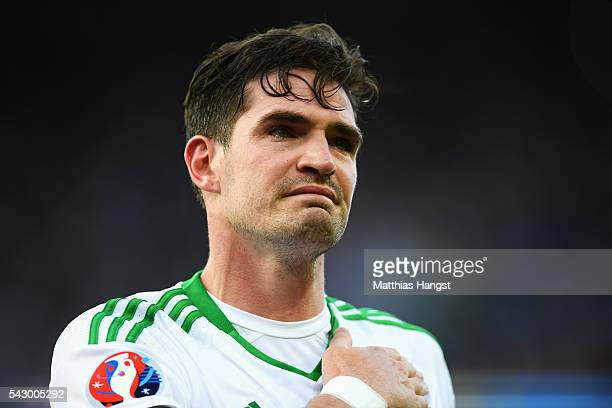 Kyle Lafferty of Northern Ireland shows his dejection after his team's 01 defeat in the UEFA EURO 2016 round of 16 match between Wales and Northern...